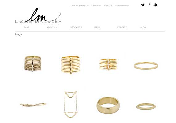 We collaborated with jewelry designer Lizzie Mandler on an e-commerce store that was minimal and showcased her delicate pieces.